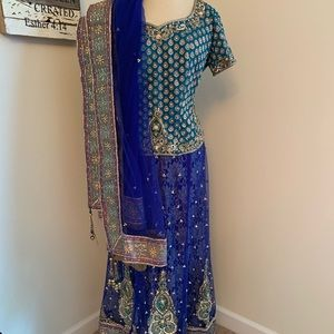 Amazing Royal blue and teal silk and tulle lengha.